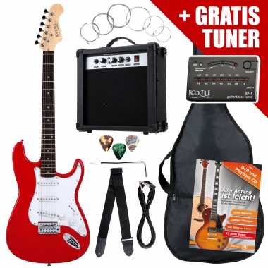 Rocktile ST Pack Electric Guitar Set, Red, incl. amp, bag, tuner, cable, strap, strings
