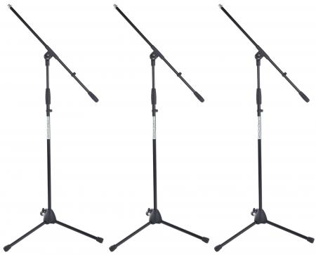 Pronomic MS-116 Stand Avec Perche de Microphone. Lot de 3