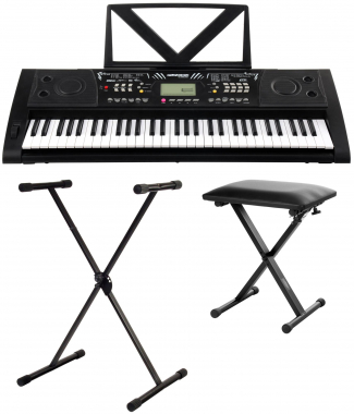 FunKey 61 Deluxe keyboard black set includes keyboard stand + bench
