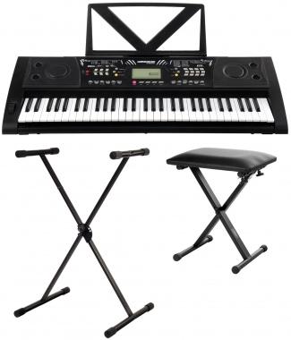 FunKey 61 Deluxe Keyboard Schwarz Set inkl. Keyboardständer + Bank