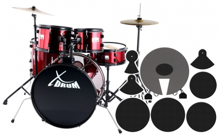 XDrum Rookie 22'' Fusion Batterie Ruby Red plus Set de Sourdines