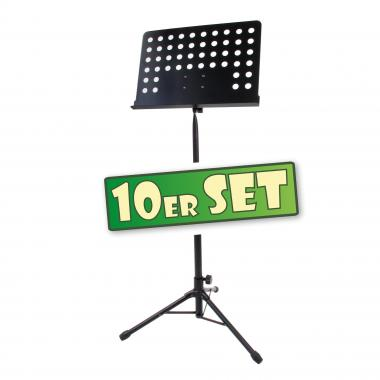Classic Cantabile atril orquesta chapa perforada Heavy negro set de 10x