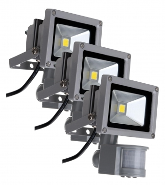 Set de 3 focos con sensor de movimiento Showlite FL-2010B LED IP65 10 W 1100 Lúmenes