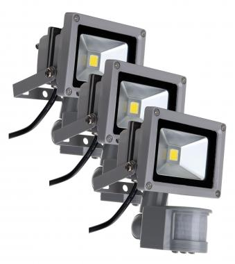 Showlite FL-2010B LED faretto IP65 10 Watt 1100 Lumen sensore movimento SET 3 pezzi