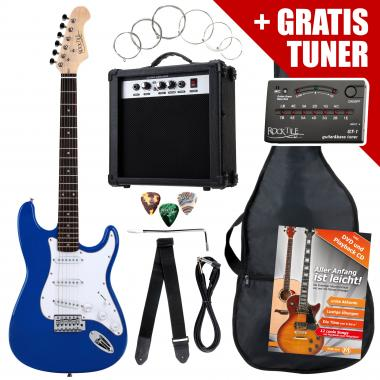 Rocktile ST Pack guitare électrique bleu en SET incl ampli, housse, accordeur, câble, sangle