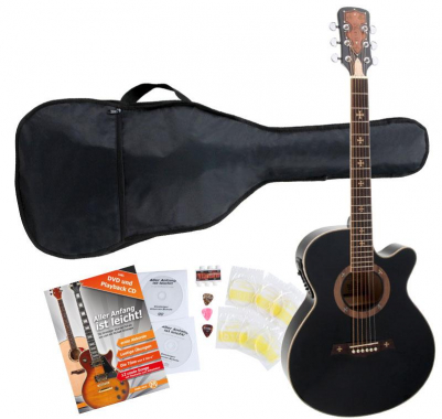 Rocktile Empire Acoustic Guitar Starter Set incl. 5-piece accessory set, black