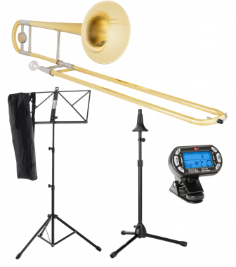 Classic Cantabile TP-42 Trombone Set incl. Metronome, Music Stand, Trombone Stand