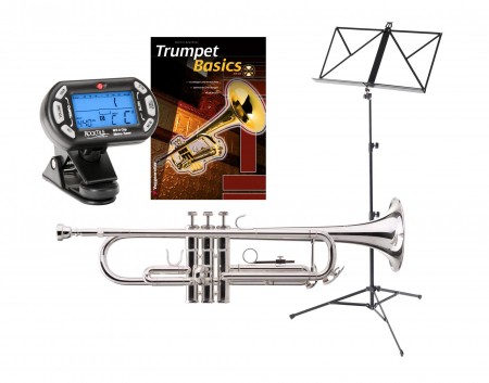 Classic Cantabile TR-40S Bb Trumpet SET with tuner/metronome, music stand