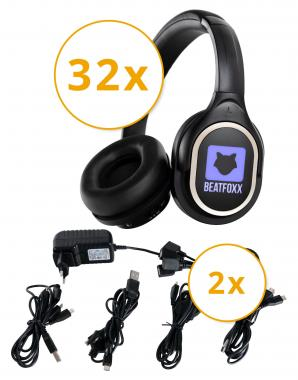 Beatfoxx SDH-340/32 Silent Disco V2 set casques + 2 chargeurs