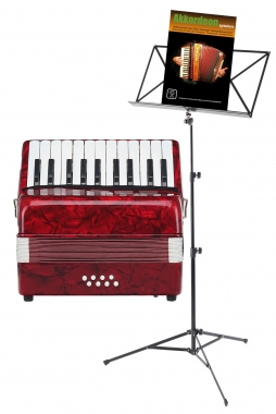 Classic Cantabile Secondo kinderen accordeon 8 bassen rood SET inb. notenstandaard