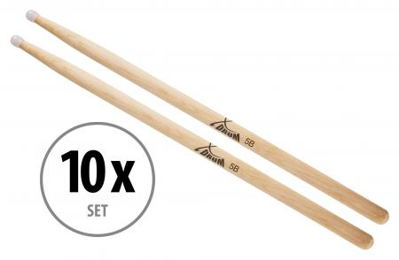XDrum Sticks de Batterie 5B Pointe en Nylon 10 Paires