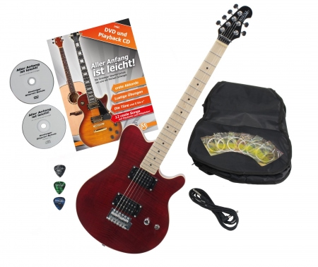Rocktile per MM150-TR electric guitar transparent red with accessories