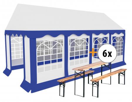 Stagecaptain Bavaria partytent pavillon 4x8m set incl. 6 sets van tafel en banken