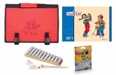 Früherziehungsset 1 - Tina und Tobi mit Glockenspiel, Stifte und Tasche