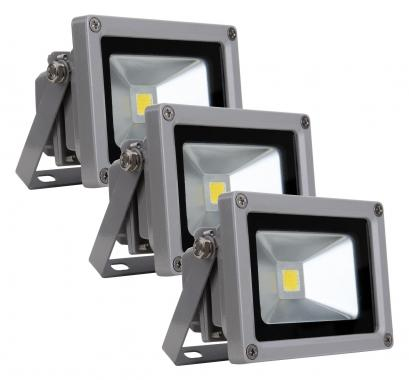 Showlite FL-2010 LED projecteur IP65 10 Watt 1100 Lumen SET de 3