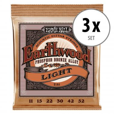 3er Set Ernie Ball 2148 Earthwood Phosphor Bronze Light