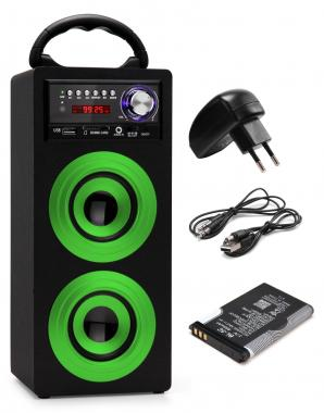 Beatfoxx Beachside portable Bluetooth Speaker USB, SD, AUX, FM Green SET incl. battery + power cord