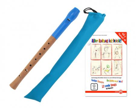 Classic Cantabile Pivella Set, Blue recorder, baroque fingering with case