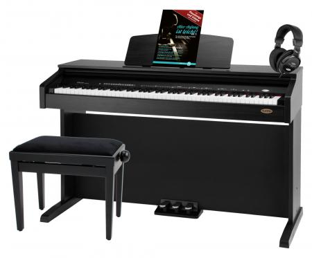 Classic Cantabile DP-210 SM digitale piano zwart mat, set inb. bank, koptelefoon