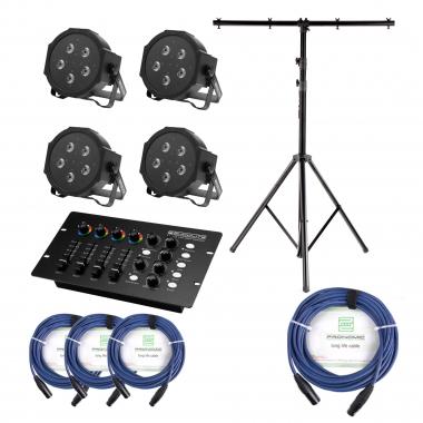 Showlite FLP-5x10W Scheinwerfer 4 x Set inkl. DMX Controller, Stativ & Kabel