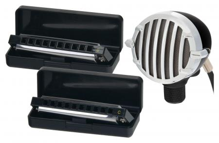 "Classic Cantabile Blues Harmonica saving set ""Folk"" + vintage microphone"