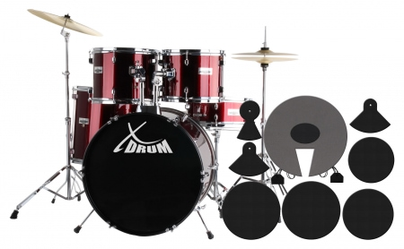 Semi XDrum including drums Cymbals + Damper Set, Lipstick Red Drum