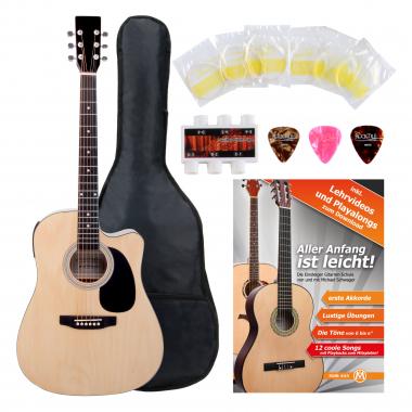 Classic Cantabile guitarra acústica con pastillas set principiante incl. set de accesorios natural
