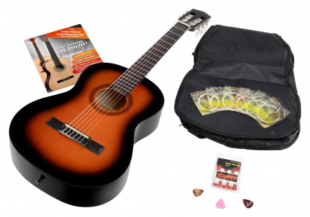 Calida Benita Concert Guitar Set 3/4 Sunburst with accessories