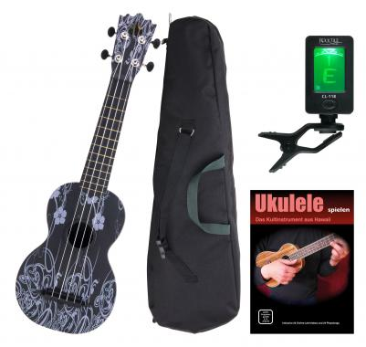 Classic Cantabile BeachBuddy Black Beauty ukulele SET y compris l'accordeur