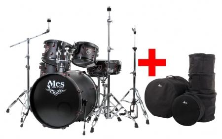 """MES Black Fusion 22"""" Drumset SET économique + housses"""