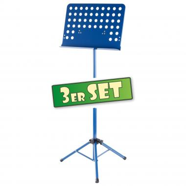 Three-piece set: Classic Cantabile Music Stand, perforated metal, heavy blue