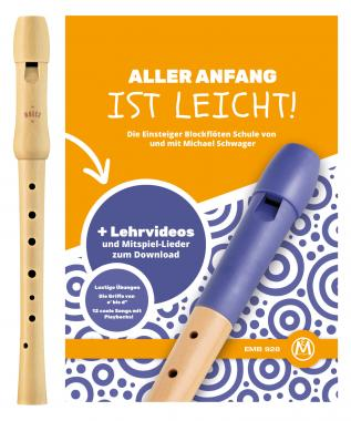 """Moeck Schulflöte 1250 Sopran deutsch+ Schule Set mit """"Aller Anfang ist leicht"""""""