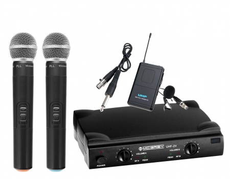 McGrey UHF-2V1l Dual Vocal/Instrument set de radio incl. Bodypack, micrófono solapa y cable guitarra