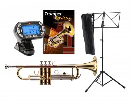 Classic Cantabile TR-39 Bb-Trumpet set with tuner/metronome, music stand