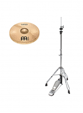 "Meinl Classics Custom Brilliant 14"" Medium Hi-Hat + HiHat Maschine SET"