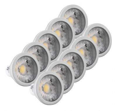 Set de 10x Showlite LED Spot COB GU10W07K30N 7 vatios, 550 Lumen, casquillo GU10, 3000 Kelvin