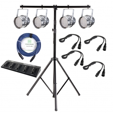 Showlite Par 64 LED set, 4x floodlights, 1x tripod, 1x foot controller, 4x cable