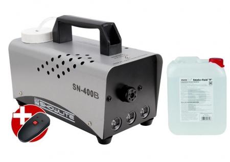 Set completo Showlite SN-400B azul LED maquina de humo 400W incl. mando distancia +5 L liquido humo