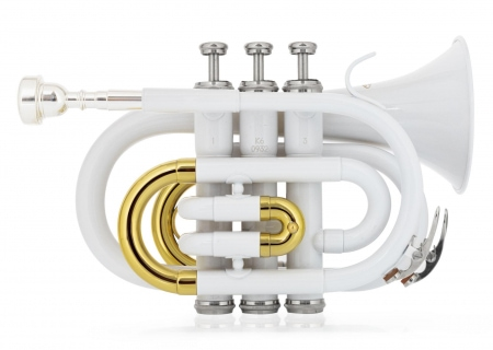 Classic Cantabile Brass TT-400 Tromba tascabile pocket Brass Sib ottone bianco