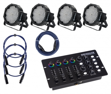 Showlite FLP-144 Floodlight 4-piece SET incl. DMX Controller and Cable