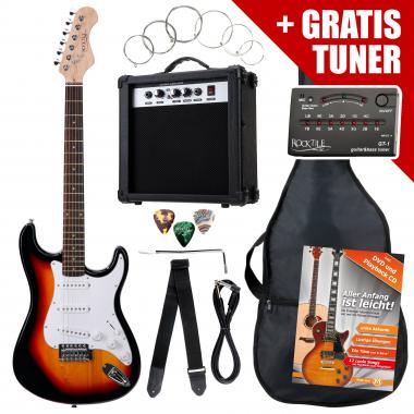 Rocktile ST Pack E-Gitarre Set Sunburst inkl. Verstärker, Tasche, Stimmgerät, Kabel, Gurt, Saiten und Schule inkl. CD/DVD
