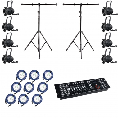 Showlite PAR 64 18x8W LED RGBA XT 25° Pro SET 8x Projecteurs 2x Trépied, Controller USB, Câble
