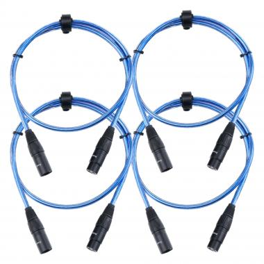 Pronomic Stage XFXM-Blue-1 cable de micrófono XLR 1 m azul metalizado set 4 x