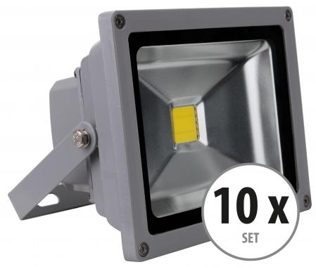 Set de 10 focos FL-2020 LED IP65 20 W 2200 Lumen