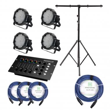 Showlite FLP-144 projecteur 4 x set, y compris le contrôleur DMX + statif + câble