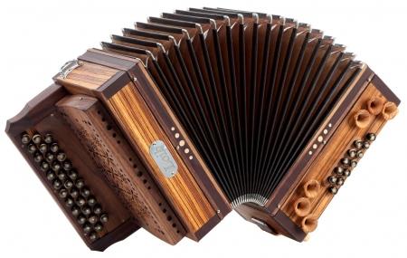 Loib acordeon 3/II Zebrano G-C-F con y X-bajo, cubierta de madera