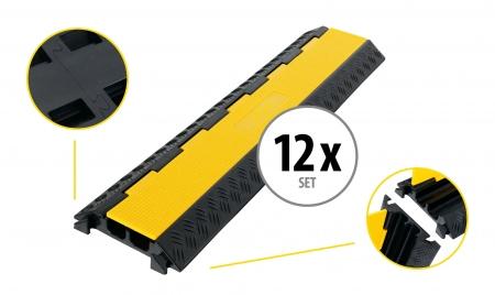 Set de 12 Pronomic Protector 2-100L V3 passe-câbles 2 canaux 100 cm avec emboîtement en V