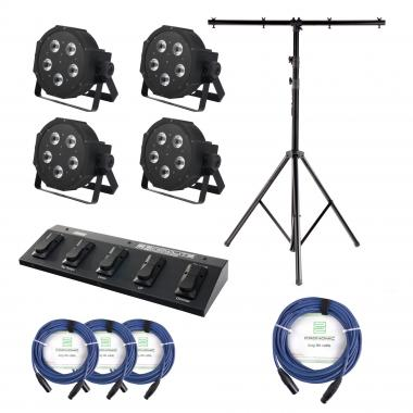 Showlite FLP 5x9W Set of 4 plus FootController, tripod and cable