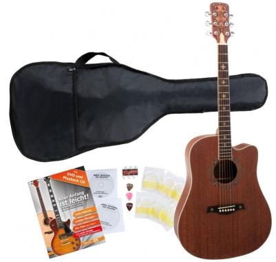 Rocktile Empire Acoustic Guitar Starter Set incl. 5-piece accessory set, natural
