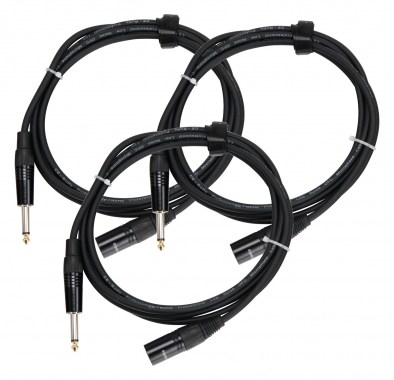 Pronomic Stage JMXM-2.5 Audio Cable Mono Jack/XLR 2.5m Black 3-piece SET